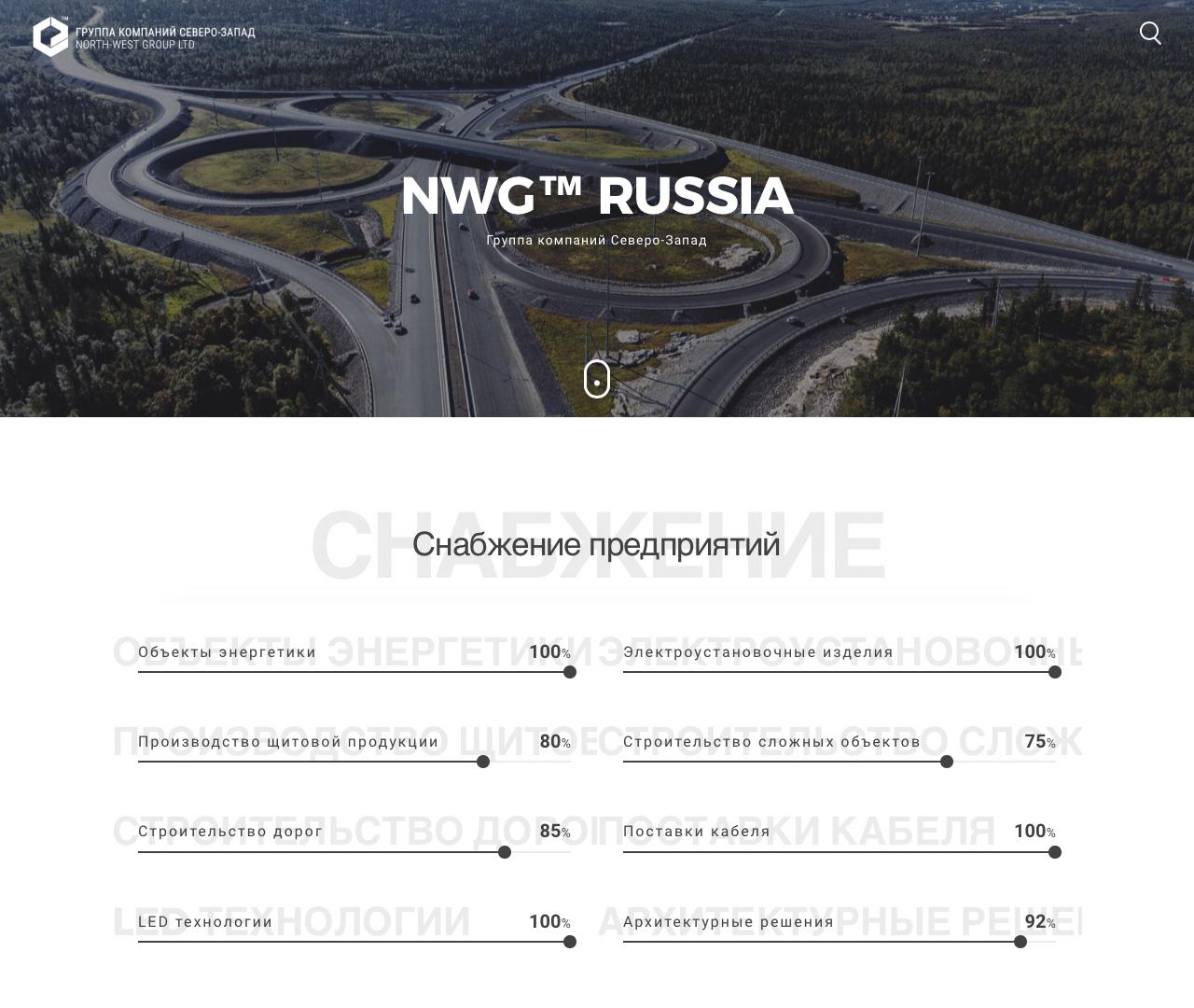 Недорогой landing page для компании North West Group